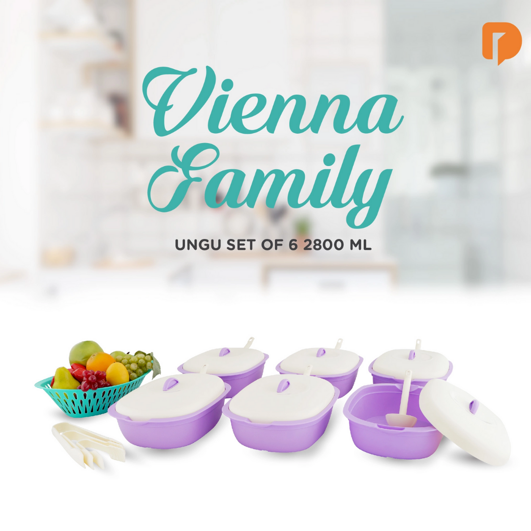 Wadah Makanan Vienna Family Ungu Set Of 6 2800 ml