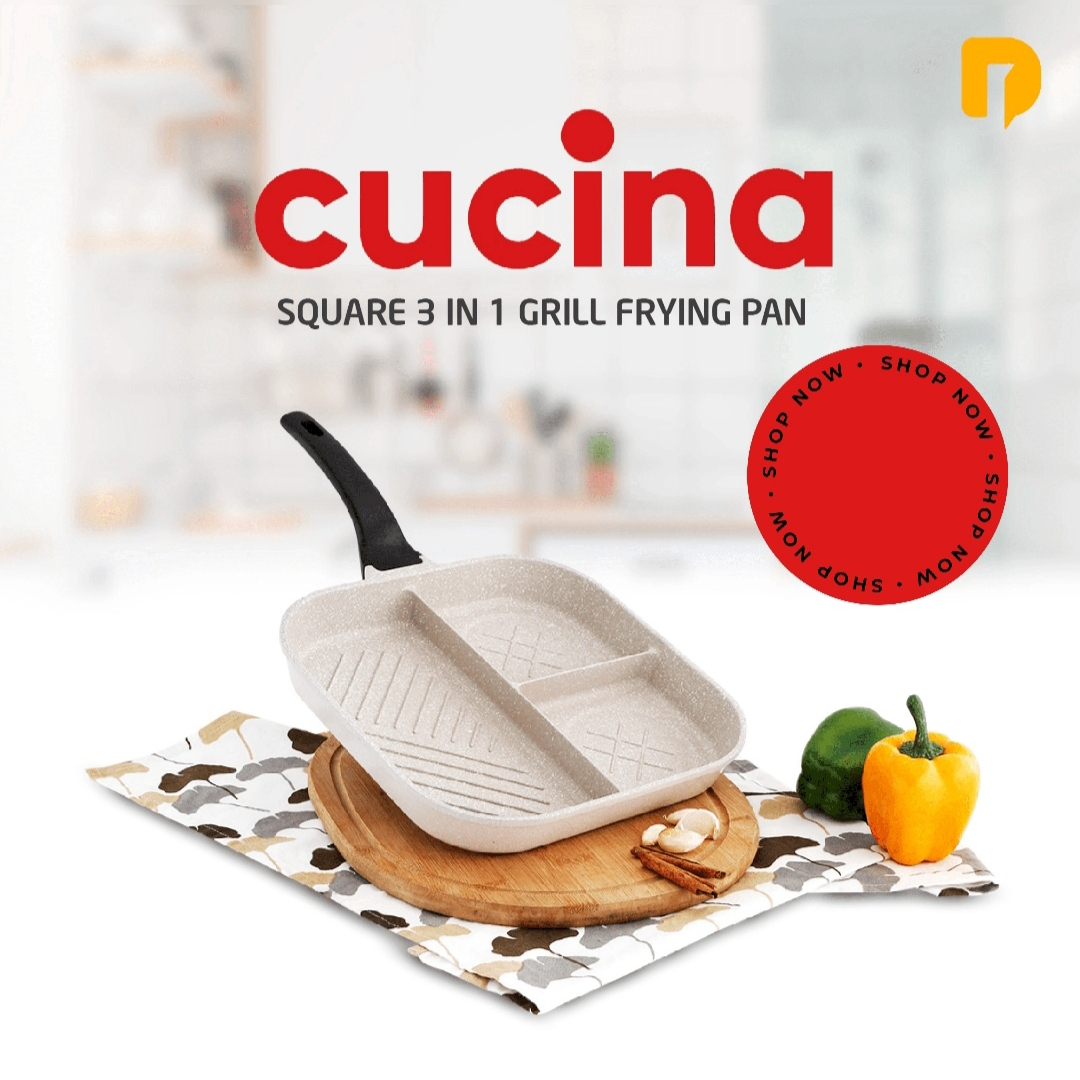 Teflon Grill Cucina Square 3 in 1 Frying Pan 28 cm