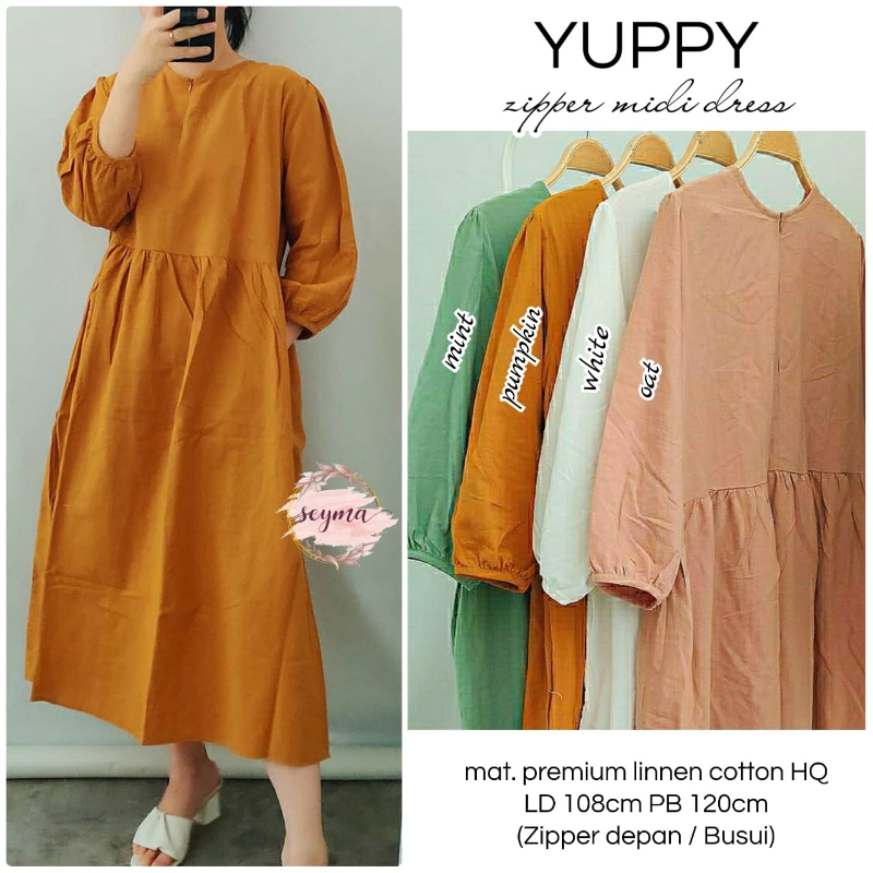 Yuppy Zipper Midi Dress