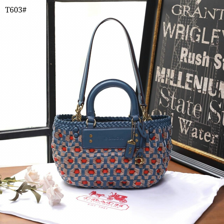 New Ready Stock 🍀  Coach Woven Tote Bag👜  Kode T603#