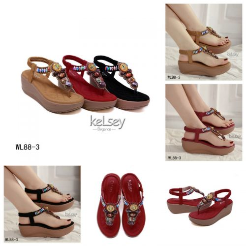 KELSEY TANIA BEADS ORNAMENT WEDGES SANDALS  WL88-6
