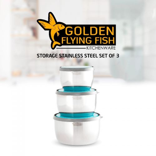 Golden Flying Fish Storage Stainless Set Of 3