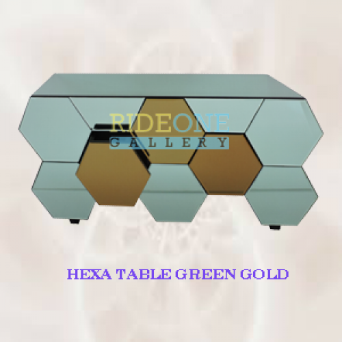 MEJA HEXA TABLE GREEN GOLD by ride one gallery